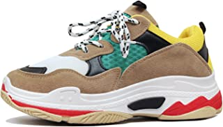 Guilty Heart Womens Retro Multimaterial Daddy Colorblock High Platform Fashion Comfortable Sneakers