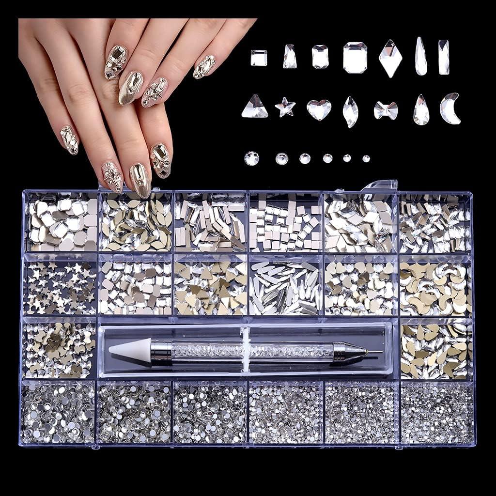 Y-YUNLONG Max 67% OFF Nail Rhinestones San Antonio Mall Set Crystal Rhines Multi-Shapes Glass