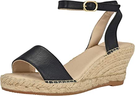 9b93c39c43 ANDREW STEVENS Leah Espadrille Shoes for Women | Leather Wedge Sandal with  Ankle Strap Buckle Closure