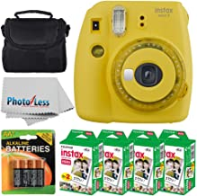 Fujifilm instax Mini 9 Instant Film Camera (Yellow with Clear Accents) + Fujifilm Instax Mini Twin Pack Instant Film (80 Shots) + Camera Case + AA Batteries + Accessory Bundle