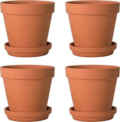Pack of 4 Terracotta Pots with Saucers, 6 Inches Terra Cotta Clay Pots with Tray