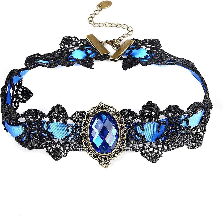 la luen chokers for Women,Gothic Choker Necklace Gothic Retro Lolita Beads Chain Vampire Pendant Necklace for Women Girl Halloween Jewelry
