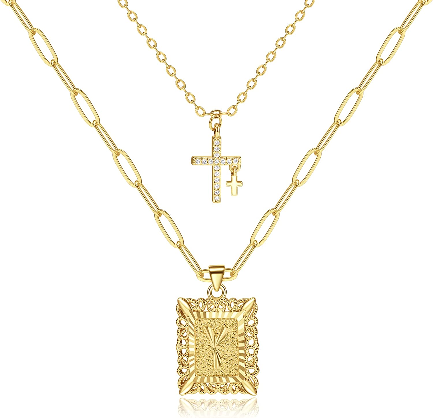 Layered Initial Necklaces for Women 14K Gold Plated Paperclip Chain Necklace Personalized Cross Letter Pendant Chain Necklace for Women Jewelry Gift