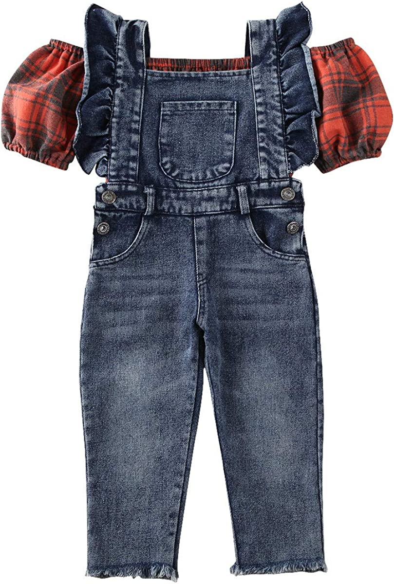 Toddler Little Girl It is very popular Off Shoulder Top+Ruffle Ove Denim Crop Jeans Free Shipping Cheap Bargain Gift