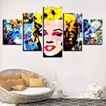 Kjwlhxd Hd Printing Wall Art Marilyn Monroe Picture Living Room Color Abstract Poster Home Decoration Modular 5 Canvas Painting-40X60 40X80 40X100Cm-Framed