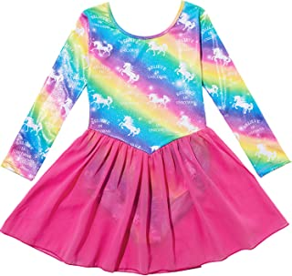 Nidoul Gymnastics Leotards Dress for Toddler/Girls Sparkly Unicorn Rainbow Skirted Dance Ballet Dress