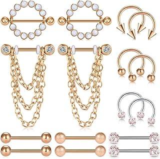 14G Piercing Capezzolo Acciaio Inossidabile Piercing Lingua Barbell Chain Dangle Piercing Lingua Piercing Septum Gioielli ...