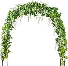 Mavee 4 Pcs 7.2 Feet Artificial Flower Vine Silk Wisteria Garland Hanging Rattan with Ivy Leaf for Wedding Home Decor (White)