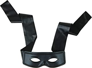 Skeleteen Black Burglar Masquerade Mask - Faux Leather Costume Bank Robber Thief Mask with Tie Strings