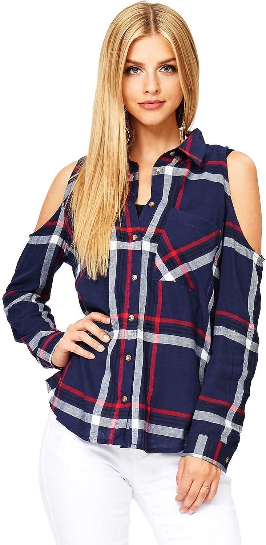 Ambiance Women's Juniors Cotton Open Shoulder Flannel