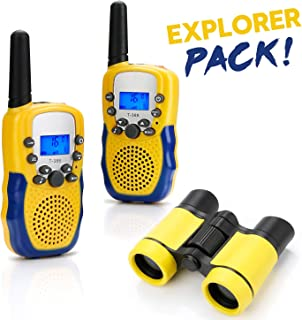 BBLIKE Walkie Talkies Toys Set for Kids 1Binoculars + 2 Whistle + 2 Long Range Walkie Talkie and Straps + 1 Storage Bag, with Flashlight and LCD Screen for Toddler Boys Girls Adults