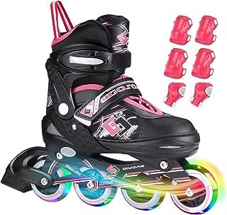 ZALALOVA Inline Skate for Girls, Kids Adjustable Inline Skates Safe Girls Roller Skates with Thickened Breathable Mesh Rollerblades for Girls Boys Beginner - Featuring All Illuminating Wheels