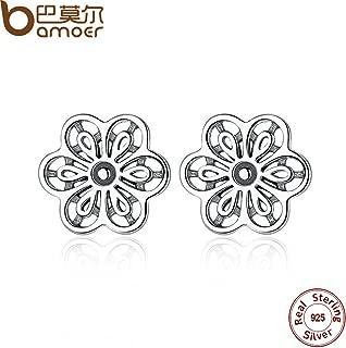 925 Sterling Silver Floral Daisy Lace Flower Stud Earrings for Women Wedding