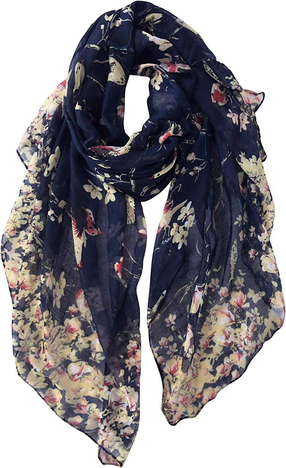 GERINLY Scarfs for Women Lightweight Floral Birds Print Cotton Scarves and Wraps for Summer