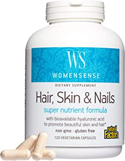WomenSense by Natural Factors, Hair, Skin & Nails, Nutritional Beauty Support with Hyaluronic Acid and Biotin, 120 capsule...