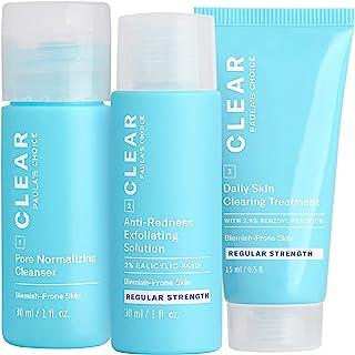Paula's Choice CLEAR Regular Strength Acne Travel Kit, 2% Salicylic Acid & 2.5% Benzoyl Peroxide for Acne, Redness Relief ...