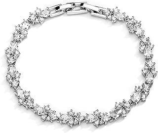 CZ Wedding Bridal & Prom Tennis Bracelet for Women, Silver Platinum Plated, 7