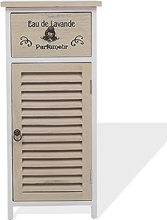 Rebecca Mobili Mueble baño Armario Auxiliar para el Dormitorio 1 cajón de 1 Puerta Blanco Beige Estilo Vintage Cuarto...