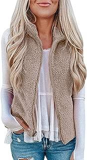 GETUPP Women Fuzzy Sherpa Fleece Vest Zip Up Sleeveless Lightweight Outwear with Pockets