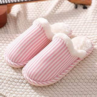 Mens Womens Slippers,Home Slippers for Men Stripe Short Plush,Winter Shoes Men Warm Comfortable Non-Slip Male Pink EU 39-40