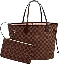 Louis Vuitton Damier Canvas Neverfull MM Rose Shoulder Handbag Article: N41603 Made in France