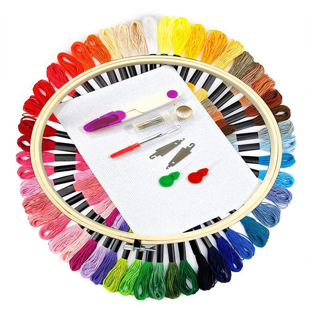 Full Range of Embroidery Starter Kit Cross Stitch Tool Kit Including 1 Pieces Embroidery Hoop, 50 Color Threads, 14 Count Classic Reserve Aida and Needles Set(Cross Stitch) (50)