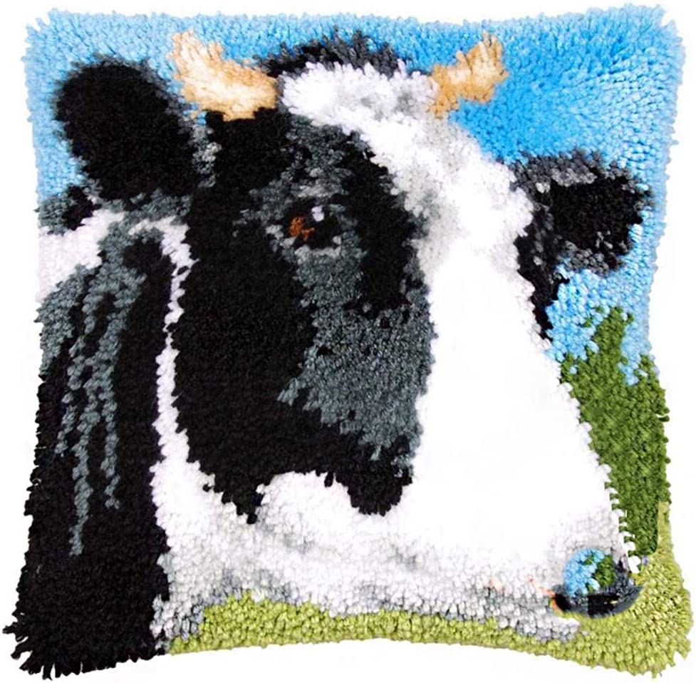 Kn/üpfkissen Tiermustern Kissenbezug Kn/üpfset Kn/üpfkissen Selberkn/üpfen Kn/üpfpackung Kissen Latch Hook Kit Bastelset,Cow,43x43cm//17x17 in