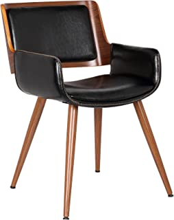 Porthos Home Finnick Dining Chair with woodent finish, Single, Black