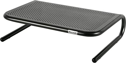 Allsop Metal Art Jr. Monitor Stand, 14-Inch wide platform holds 40 lbs with keyboard storage space - Pearl Black (30165)