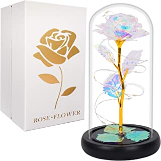 Gift for Mom Artificial Colorful Flower Rose Gift Led Light on Galaxy Rose in Glass Dome Best Gifts for Mother Day Women V...