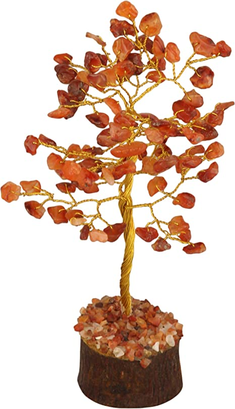 Amazon Com Pyor Carnelian Gemstone Bonsai Tree Feng Shui Money Trees Spiritual Handmade Gift Reiki Healing Crystal Chakra Balancing Home Decor Gift Chakras Stones Good Luck Golden Wire 7 8 Inch Home Kitchen