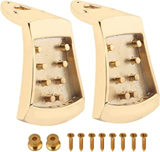 Guitar Tailpiece Golden Zinc Alloy Tailpiece Replacement for 8-String Mandolin Guitar Set of 2