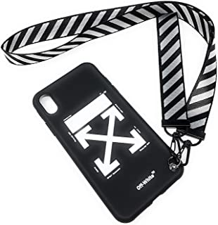 NCANGU Off White Black case Compatible with iPhone case with Strap (iPhone 7 Plus/ 8 Plus)
