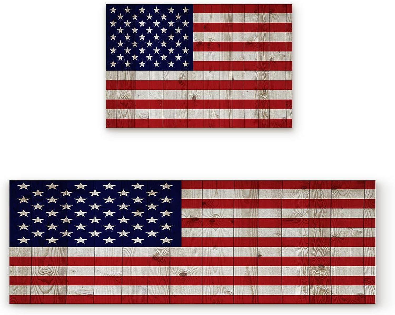 Livencher 2 Piece Non-Slip Kitchen Mat Rubber Backing Doormat Runner Rug Set,American Flag