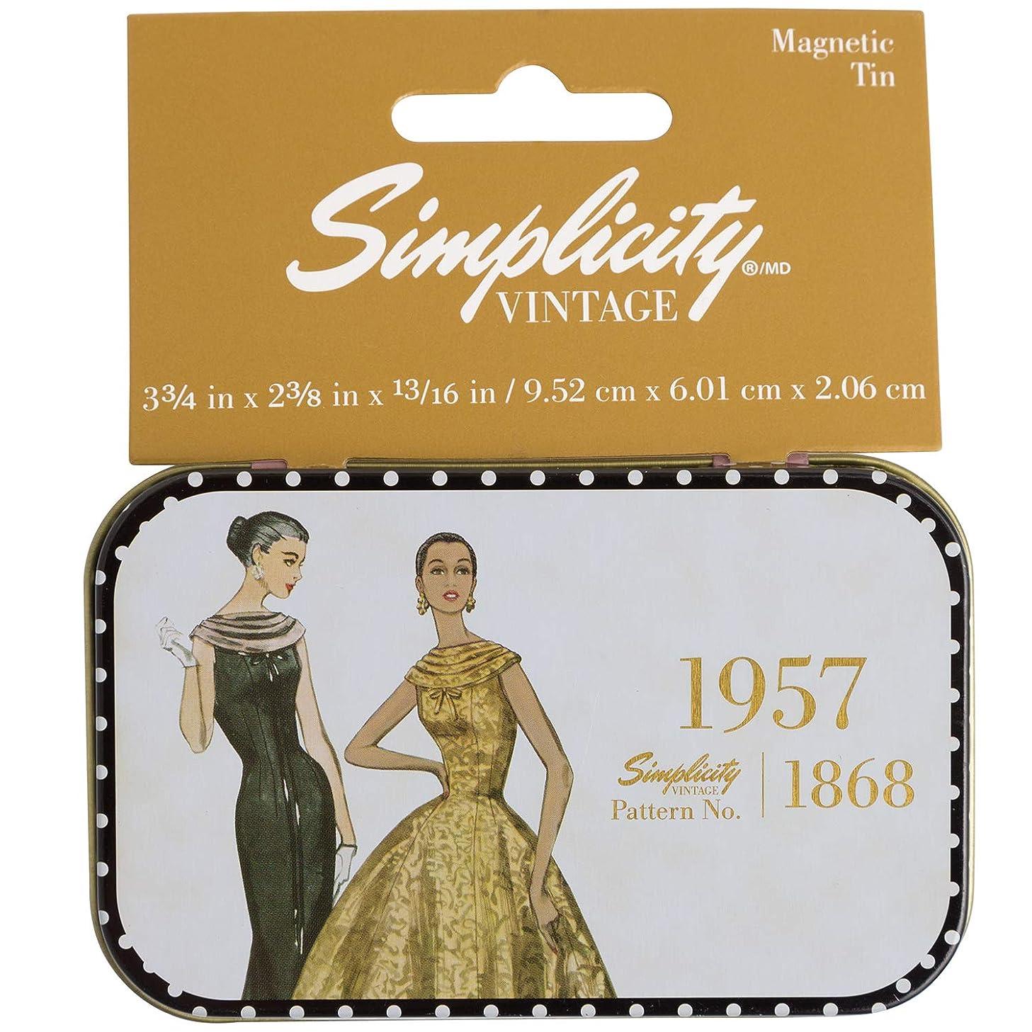 Simplicity Vintage 1950's Fashion Magnetic Sewing Storage Tin Case, 3.75'' W x 2.375'' L x .8'' H
