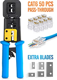 RJ45 Crimp Tool for Pass Through Connector End   EZ Cut, Strip, Crimp Electrical Cable   Heavy Duty Crimper for RJ11 & RJ45 Plugs   Professional Networking Cat5/5e & Cat6, Tools & Accessories