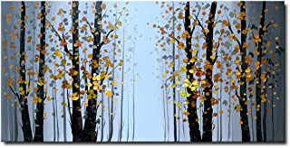 Hand Painted Tree Oil Painting Black and White Forest Canvas Wall Art Abstract Artwork (48 x 24 inch)
