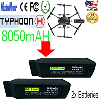 MaximalPower Gifi Power 8050mAh 14.8V 4S High Power LiPo Flight Battery for Yuneec Typhoon H Drone (2X 8050mAh 4S LiPo Battery-H)