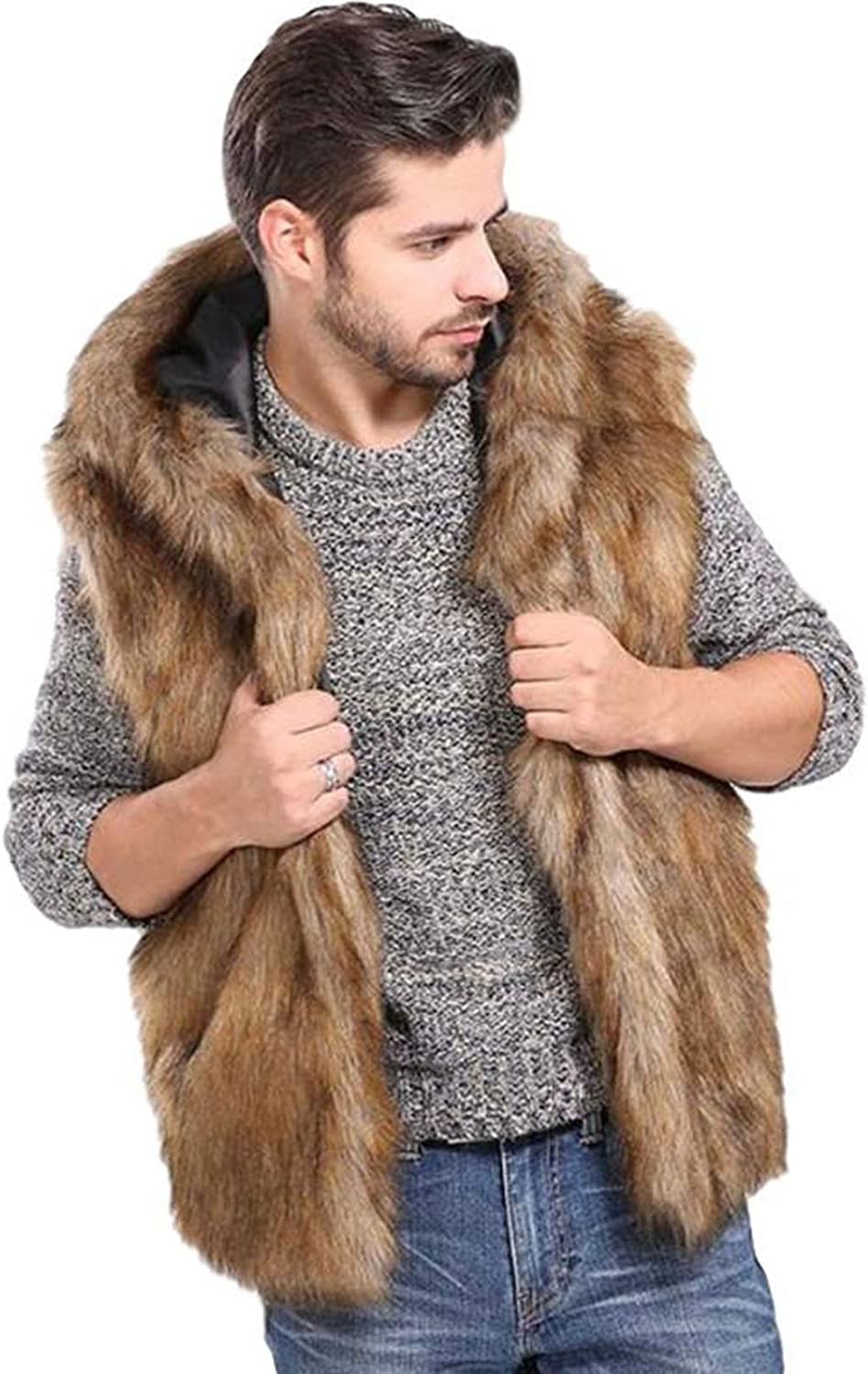Idopy Winter gift Men`s Faux Fur Sleeveless Courier shipping free shipping Coat Gilet Vest Jacket