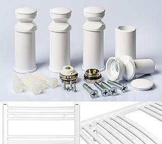 Support Pour Radiateur Sèche-serviettes en Blanc Chrome Et Noir Adapté Pour Tout Droit Et Courbé Radiateur - 1. Blanc