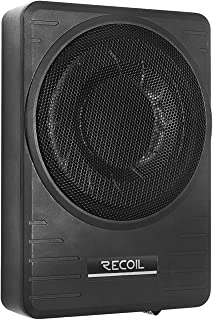 """$99 » RECOIL SL1710 10"""" 300 Watt Under-Seat Slim Low Profile Active Powered Car Subwoofer with Installation Wiring Kits"""