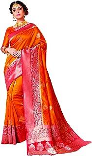 Indian Soft Banarasi Silk Weave saree Designer Pallu & Designer Blouse WOMAN sari eid 6414