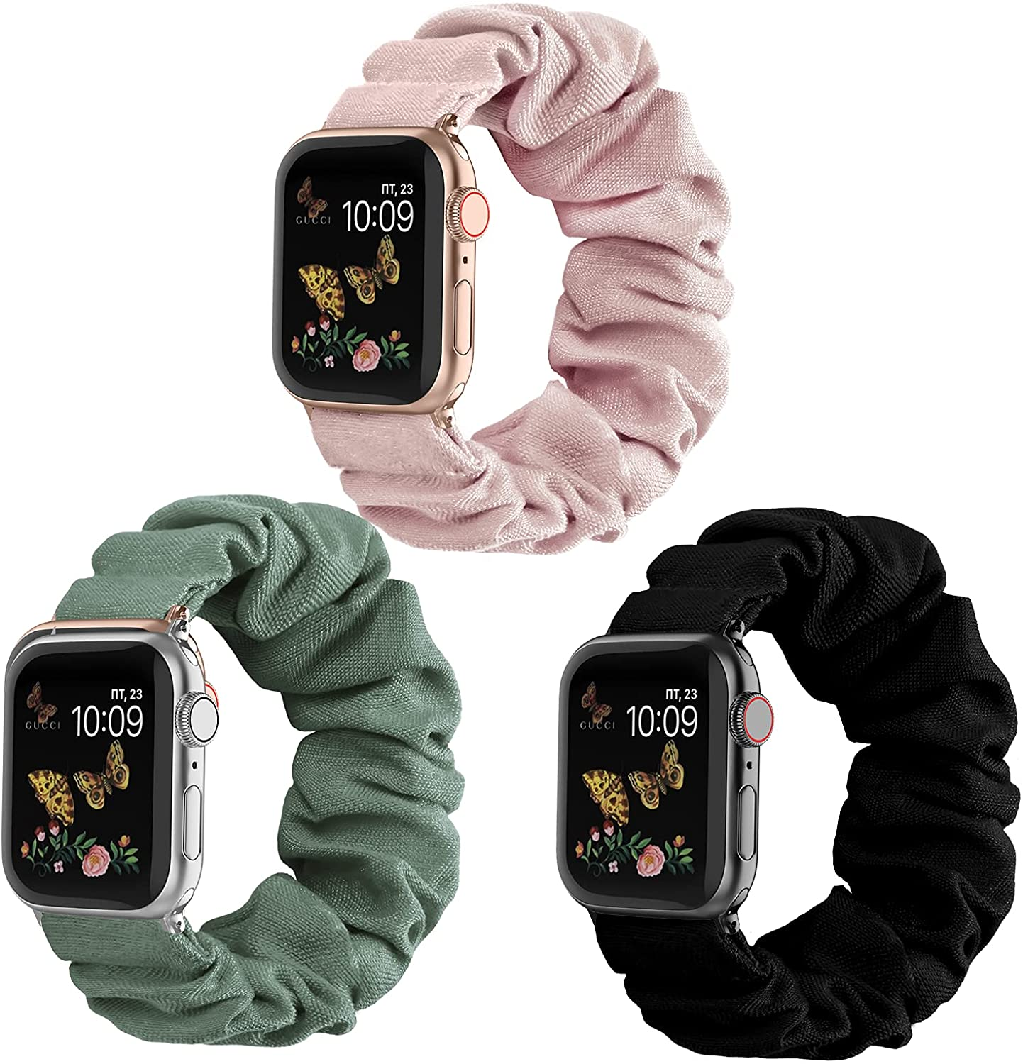 Recoppa Compatible for Scrunchie Apple Watch Band 38mm 42mm 40mm 44mm Cute Print Elastic Watch Bands Women Bracelet Strap Compatible for Apple iWatch Series 6 5 4 3 2 1