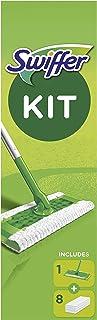 Swiffer Kit Balai Attrape-Poussière + 8 Lingettes Sèches, Retient 3x plus de poussière et de poils,