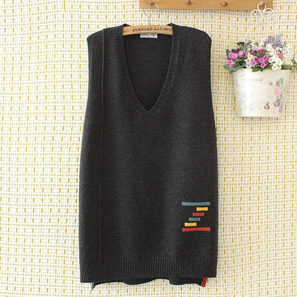 Sweater Vest Women,Womens Sleeveless Sweater Vest Casual Loose V Neck Simple Literary Color Stripes Jacquard Plus Size Long Knitted Cami Sweater Pullovers Preppy Style Knitted Tank Top Autumn Winter