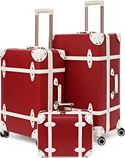 NZBZ Vintage Luggage Sets with Spinner Wheels Cute Carry On Suitcase Tsa Lock Luggage 3 Pieces (Red, 14inch & 20inch & 28i...