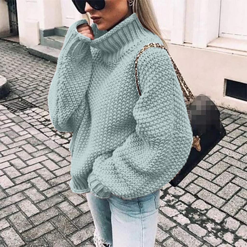ESAILQ Kleider Damen Strickpullover Casual Herbst Winter Sweater Langarm Lose Pulli Jumper Sweatshirt Strickpulli Pullover Rollkragenpullover Streifenpullover D-hellblau