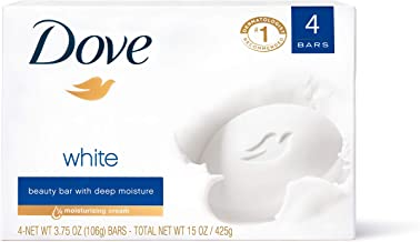 Dove Beauty Bar Gentle Cleanser for Softer and Smoother Skin with 1/4 Moisturizing Cream White More Moisturizing than Bar Soap 3.75 oz 4 Bars