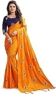 Floral Trendz Paper Silk Embroidered Saree with Blouse Piece.(Saree_Orange)