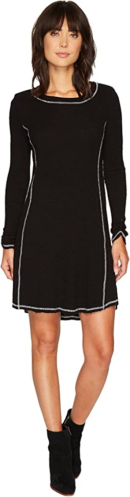 Dylan by True Grit - Heathered Soft Slub Waffle Crew Seamed Dress